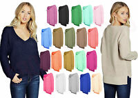 Womens Ladies Oversized Baggy Long STEP HEM V Neck Knitted Plain Chunky Jumper