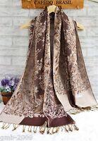 Elegant Women's  brown Flower Pattern 100% Pashmina Long Scarf Wrap Tassel