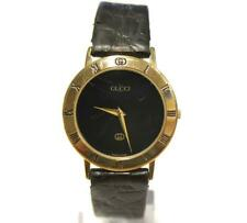 Gucci 3001M Vintage Gold Plated Black Face Quartz Watch