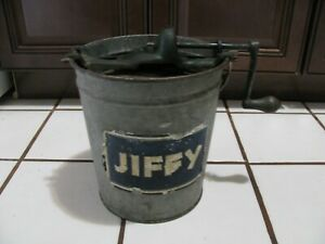 VINTAGE JIFFY Galvanized 2 Quart Hand Crank Ice Cream Maker Churn Freezer WORKS