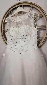 White Flower Wedding Dress princess Ball Gown Size 10-12