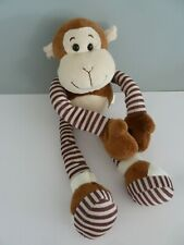 D1- DOUDOU PELUCHE HAPPY FRIENDS SINGE PATTE COULISSANTE MARRON RAYE BEIGE TTBE