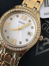 Guess Women's Gold Tone Bracelet Crystal Watch w/ Date U0848L2 NWT Box