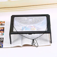 Large A4 Page Hands Free 3x Magnifying Glass With Light LED Magnifier Reading sp