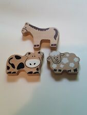 Wooden Train Farm Animals Cow Sheep Horse One sided - Set of 3