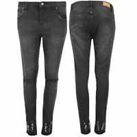 Womens Ladies Skinny Fit Knee Ripped Destroyed Cut Out Pants Trouser Denim Jeans