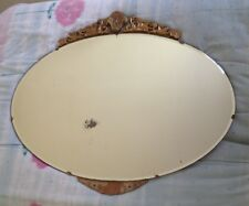 VINTAGE FRENCH OVAL FRAMELESS MIRROR GOLD FEATURE TRIM TOP, BOTTOM ART DECO FLAW