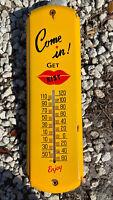 "VINTAGE KIST SODA POP PORCELAIN THERMOMETER SIGN 17"" GAS STATION FOUNTAIN COKE"
