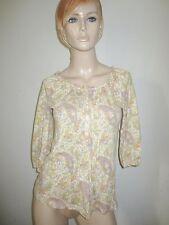 LAUREN Ralph Lauren 100% Cotton Paisley Print Chemise Style 3/4 Sleeve Top S