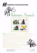 USPS Commemorative Panel 489 #3077-3080 Prehistoric Animals Mint Blk/4 1996