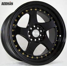 AODHAN AH01 17x9 5x100 / 5x114.3 +35 Full Black (Gold Rivet) (PAIR) Wheels