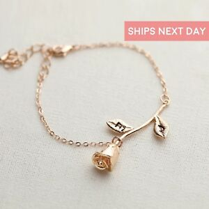 Rose Bracelet Charm Initial Beauty And The Beast Jewelry Best Friend Gift