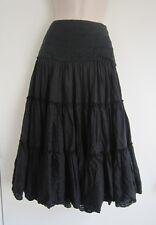 linea Below Knee Length Crochet Waist 100% Silk Black Boho Skirt ~ Size 8 / W27