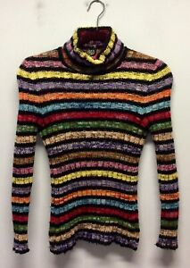 1960s Jean Patou Boutique Rainbow Hooped Roll Neck Sweater S