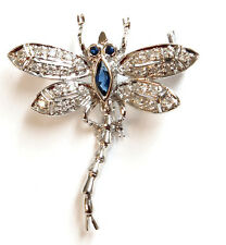 14K Solid White Gold Sapphire and Diamond Dragonfly Pin