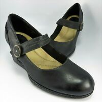 "Earth Shoes NORTHSTAR Mary Jane Wedge Womens Size 8B Black Leather Pumps 3"" Heel"