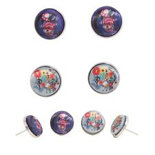 Disney Alice In Wonderland Cheshire Cat & Flowers Fabric Button 2 Pair Earrings