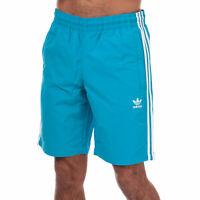 Mens adidas Originals 3-Stripes Swim Shorts In Shock Cyan
