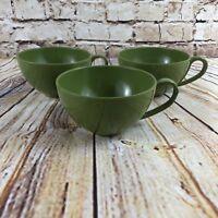 Set Of 3 Vintage Melmac Avocado Green Coffee Tea Cups