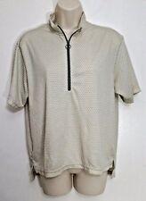 LL Bean Womens Top Medium Tan Green 1/2 Zip Back Pocket Short Sleeve Vintage USA