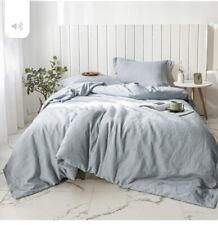 Simple & Opulance Grey 100% Washed Linen & Cotton King Duvet Set