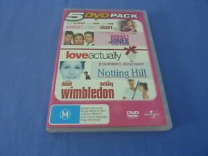 5 DVD Pack Bridget Jones 1+2 Notting Hill Love Actually Wimbledon DVD Region 2,4