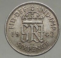 1942 UK Great Britain United Kingdom KING GEORGE VI Silver SIXPENCE Coin i56882