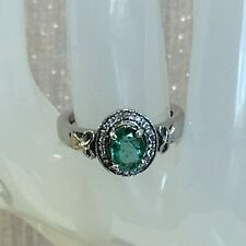Exquisite Zambian Emerald & White Topaz 925 Sterling Silver Ring - 0.83 carats