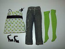 Barbie Doll Green Pear Print Shirt Knee Socks Capri Jeans Shoes TOP MODEL T07