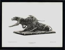PHOTOGRAVURE CARL E. AKELEY LION SPEARING IN AFRICA TAXIDERMY SCULPTURE
