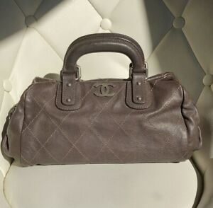 VERIFIED Authentic CHANEL Brown Quilted Stitched Caviar Leather Satchel Bag