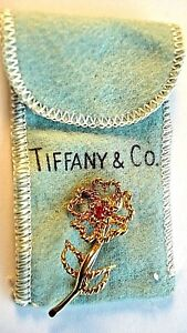 Rare,Tiffany & Co. Italy,VINTAGE Ruby and 18kt.Yellow Gold Flower Pin / Brooch.
