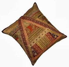 """30"""" PLUM STUNNING BEAD HANDCRAFTED SEQUIN SARI THROW ACCENT CUSHION PILLOW COVER"""