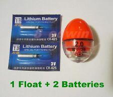 LED Luminously Electronic Ellipsoid Fishing Float + 2 Lithium batteries