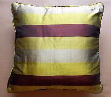 Immaculate Lime Green & Burgundy Purple Thai Silk 44cm Square Cushion