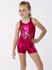 NWOT Small child foil shorty unitard Gymanstics Hologram Sequin Fushia Foil