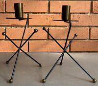 Pair Vintage 50s 60s Brass Metal Atomic Era Candle Holders Mid Century Modern