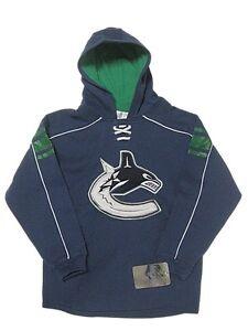New Boy's Vancouver Canucks Hoody Sweatshirt Small Hockey Lace Reebok