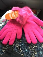 Beautiful Girls Pink Gloves With Fur Like Material At The Wrist Nwt One Size