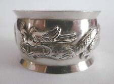 LOVELY ANTIQUE SOLID CHINESE EXPORT SILVER DRAGON NAPKIN RING C1900 20.5G