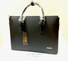 UScarmen Men's Zip Top Leather Laptop Briefcase Messenger Shoulder Bag 096 BLACK