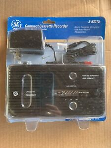 GE Compact Cassette Recorder Ac/Dc Converter 3-5301S Black One Button Record NEW