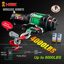 4000LBS/1814kg 12V Wireless Electric Winch Green Synthetic Rope Boat ATV 4WD 4x4
