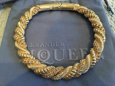 NWT Auth Alexander McQueen Gold Plated Brass Twisted Rope Runway Choker Necklace