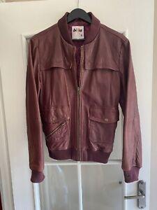 Mens Billabong Burgundy Leather Jacket - Size XL Please Read Description