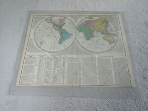 Geographical Map of the World (dated 1820), by C. Gros, handcolored, navigators
