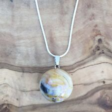 """Crazy Lace Agate Ball Sphere Pendant 20mm 20"""" Silver Necklace Balance Protection"""