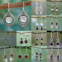 Charm Women Amethyst Moonstone Opal Ruby Topaz Drop Dangle Earrings Jewelry Gift