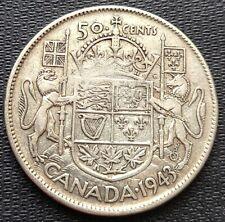 1943 Canada Silver 50 Cent Half Dollar Coin - 80% Silver