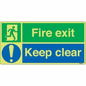 Fire Exit Keep Clear Safety Sign 30x15cm Self-adhesive Reflective Vinyl Sticker